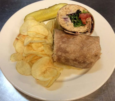 Tuna Salad Wrap with potato chips